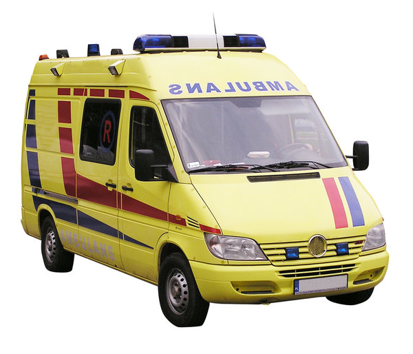 Ambulance: An ambulance. Yellow one.