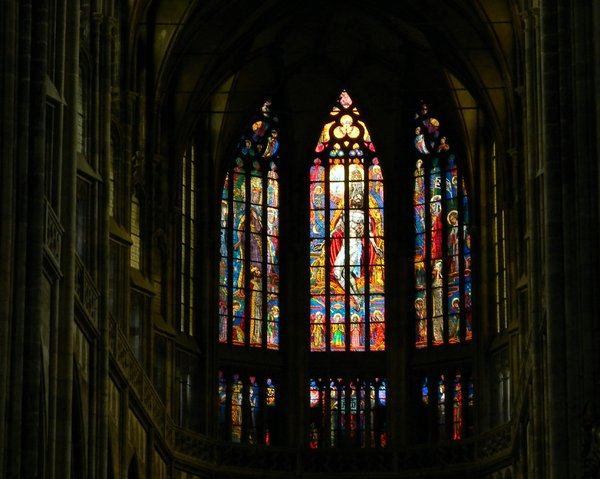 In Prague Castle: Windows of St. Vitus Cathedral in Prague, Castle