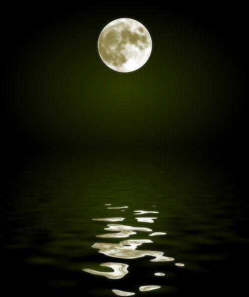 Moon Reflected in Water 3: A full moon reflected in the water.