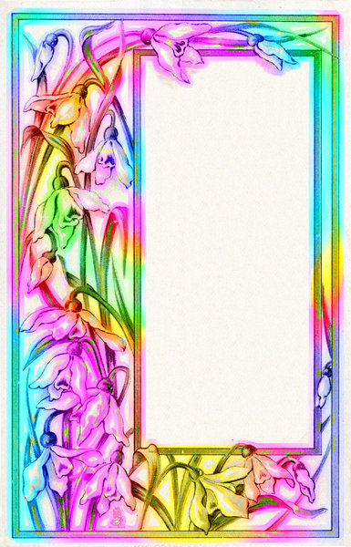 Colourful Border 3: A public domain image provided by Dennis Hill and Friends, heavily edited in rainbow colours.