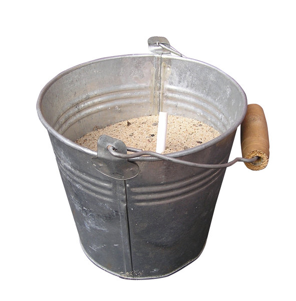 Bucket with sand: A bucket with sand.