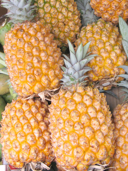 Pineapples: Pineapples on display in the fruit market
