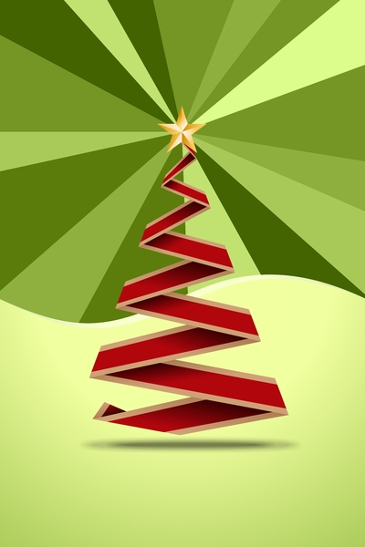 Origami Christmas Tree 2D: Red origami christmas tree on the green background
