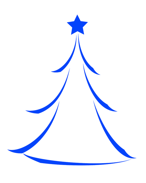 Christmas Tree Icon 1: Minimalist abstract Christmas tree icon on white background.