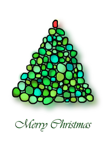 Christmas tree illustration: Free hand Christmas tree illustration