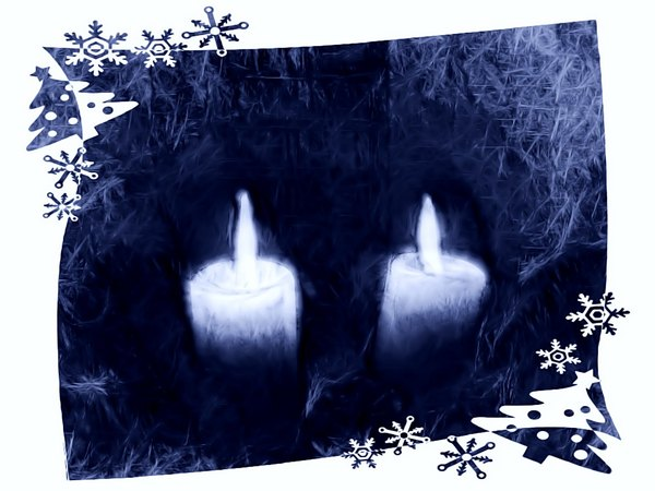 Candles With Border 2: Grungy Christmas candles with a festive border. Made from a public domain image.