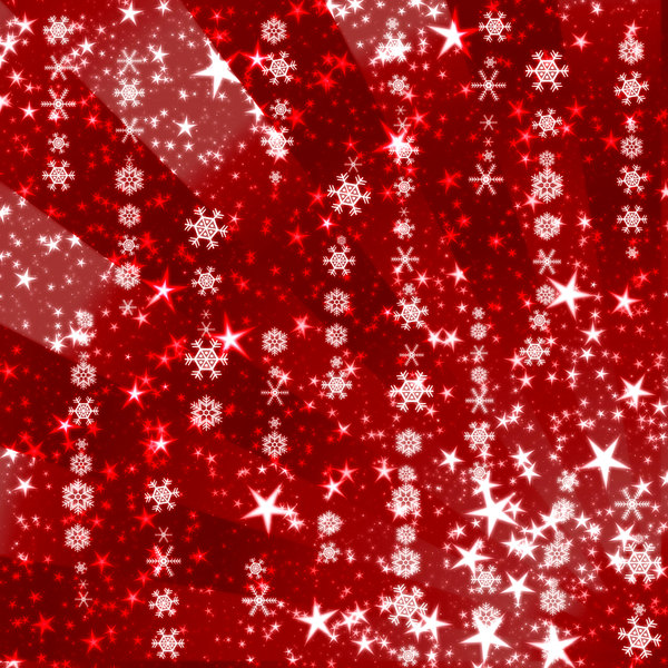 Sparkles and Snowflakes 1: Snowflakes and stars on a Christmassy red background. Bright and festive, and a pretty fill, background or texture.