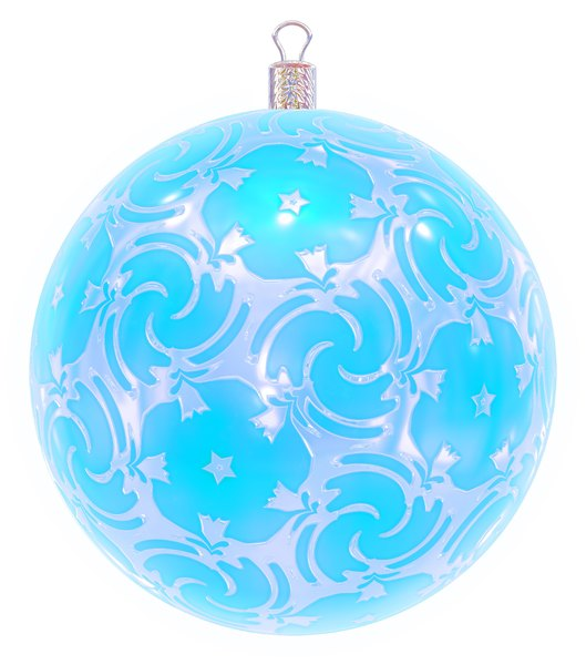Christmas Bauble 9: An ornate Christmas bauble decorated with a silver metallic pattern.