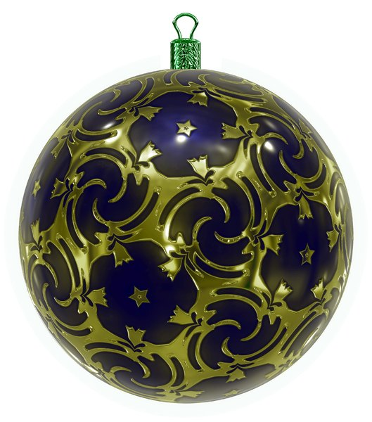 Christmas Bauble 5: An ornate Christmas bauble decorated with a golden metallic pattern.