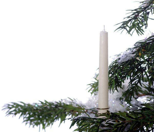 Candle on a christmas tree: Candle on a christmas tree wth snow