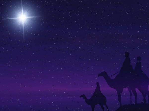 Follow: A background graphic of some Wise Men following a star.