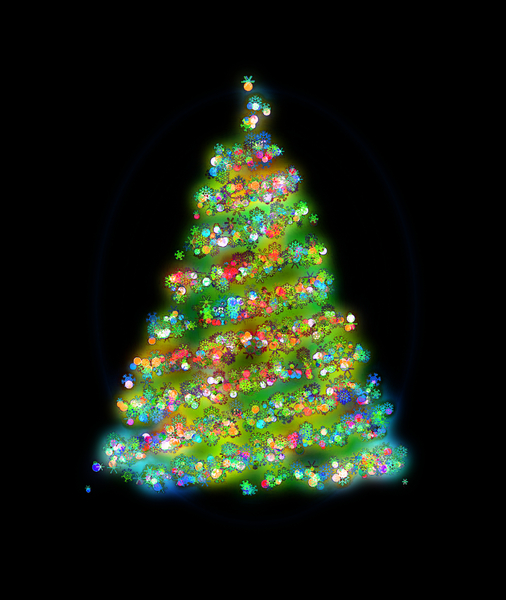 Glowing Christmas Tree 2: A glowing Christmas tree with baubles, lights and snowflakes, against a black background.
