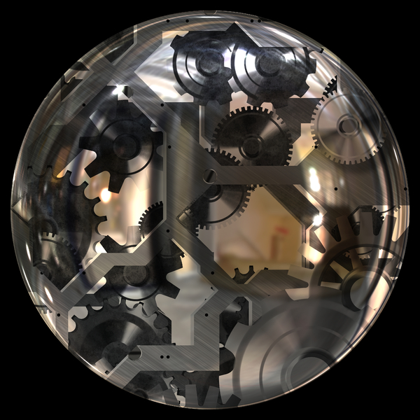 Clockwork Sphere: A glass orb or window with metallic cogs visible inside on a black background. You may prefer:  http://www.rgbstock.com/photo/nS536Gi/Fantasy+Clock+1