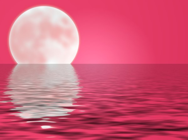 Moon and Water 3: A giant moon on a watery horizon, in shades of red.