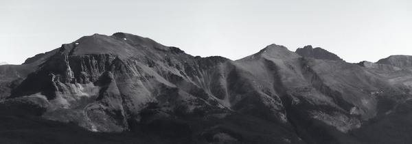 Mountain range B/W: B/W image of a mountain range in Canada. Two shot photomerge.