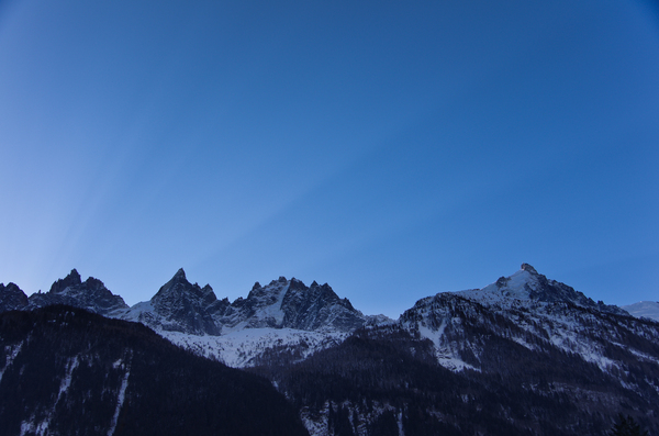 Sunrise over mountain ridge: Welcome to a new day in Chamonix, France