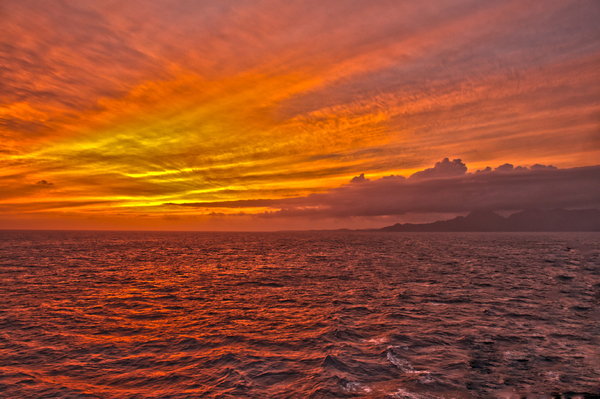 Red Skies in the Evening HDR: Out in the middle of the Pacific on the way to  Hawaii