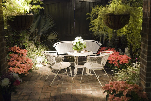 Nightime Patio: A patio at night