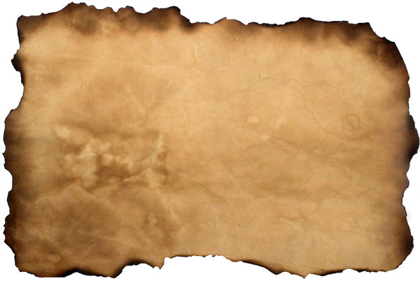 Ancient Parchment: Old Parchment placed on a white background for easy removal.