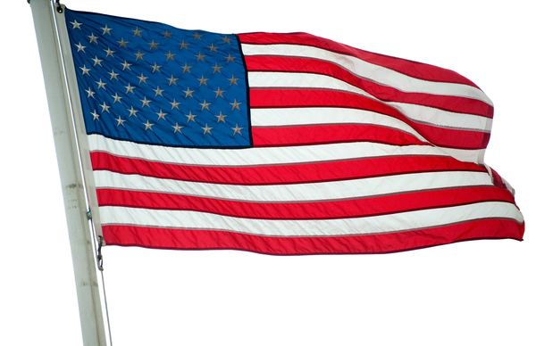 US waving flag: Flag outside fort, waving in strong breeze