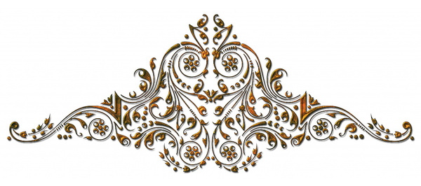 Ornamental Gold Scroll: A gold scroll that was part of a border design I created