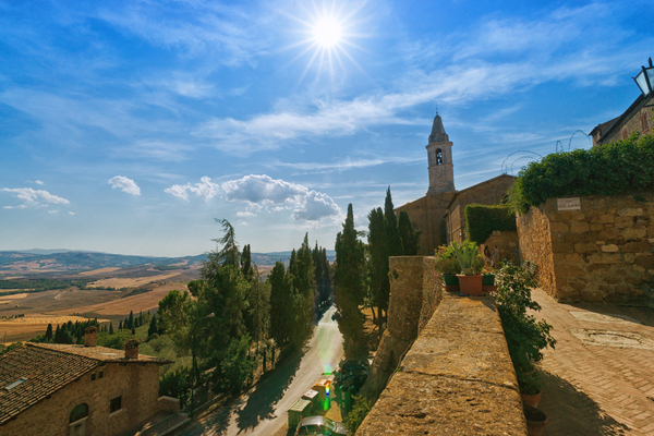 Pienza - View from City Wall: View from the City Wall of Pienza, on the summerly dry Tuscany- Landscape and Mountains. (Some Lens Flares in the lower Part)