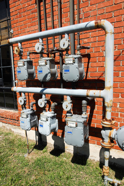 Gas Meter: Six natural gas meters.
