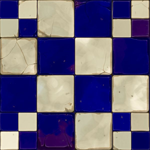 Old Cracked Tiles 2: A tiled wall or floor made up of navy blue and white tiles with a diagonal effect. Tiles are old, cracked and grungy.