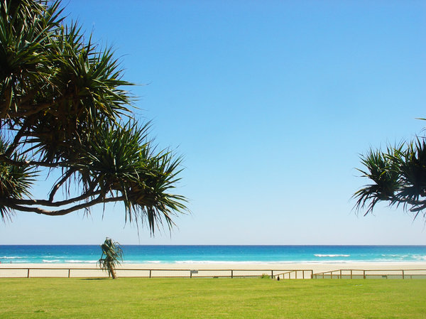 Beach: Blue sky over an Australian beach at the Gold Coast.