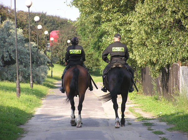 Horse police: Policemen on horses. Warsaw, Poland.