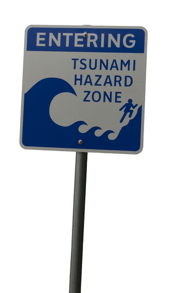 Tsunami warning sign: Road sign on Vancouver Island, Canada.