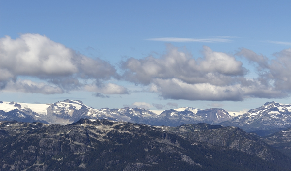 Mountain Panorama: Panorama of the Coast Mountains near Whistler, Canada.
