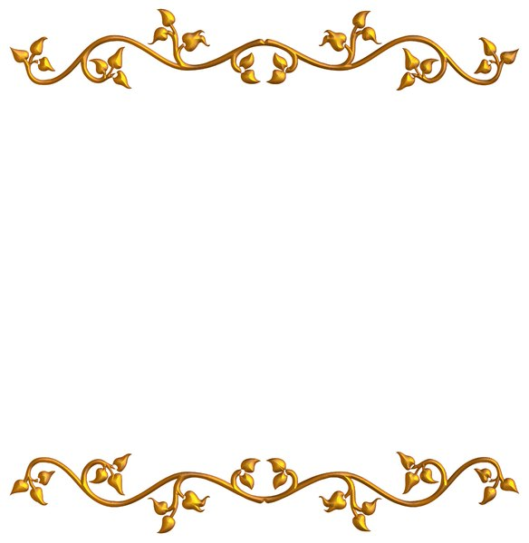 Vine Border 4: An ornate golden frame or border on a white background ...