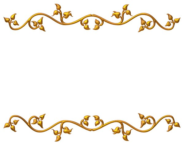 Golden Vine Border 2: An ornate golden frame or border on a white background. Perhaps you would prefer this: http://www.rgbstock.com/photo/nvi0UW8/Golden+Ornate+Border+2  or this:  http://www.rgbstock.com/photo/nWmCL5i/Golden+Leaf+Border