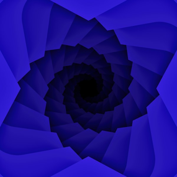 Blue Spiral: A black and blue decorative spiral.