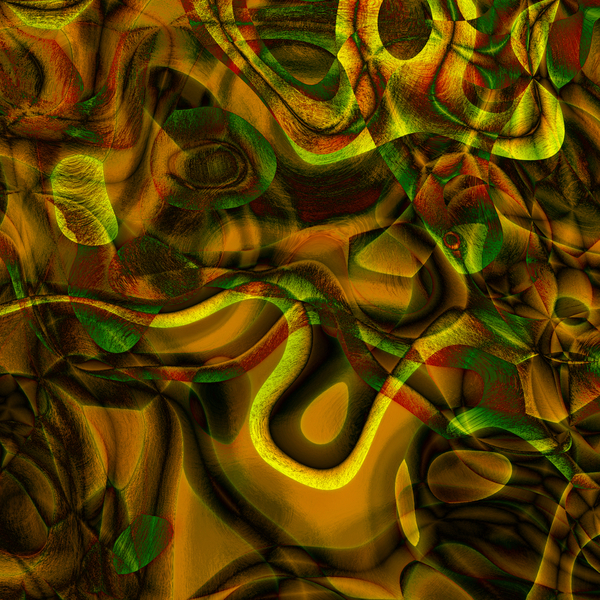Abstract Art 3: A swirling retro abstract background, texture or fill in greens, yellows and browns.