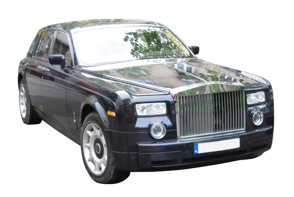 A luxury car: A nice black car. Rolls Royce.