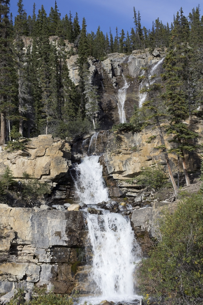 Waterfalls: Tangle Falls, a series of short waterfalls in the Rocky Mountains, Canada.