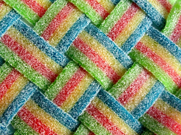 Woven Candys diagonal: Belts of candy woven together