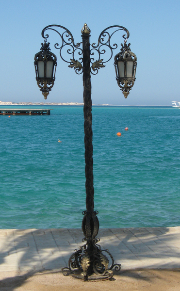 bronze street lamp: a street lamp in Egypt
