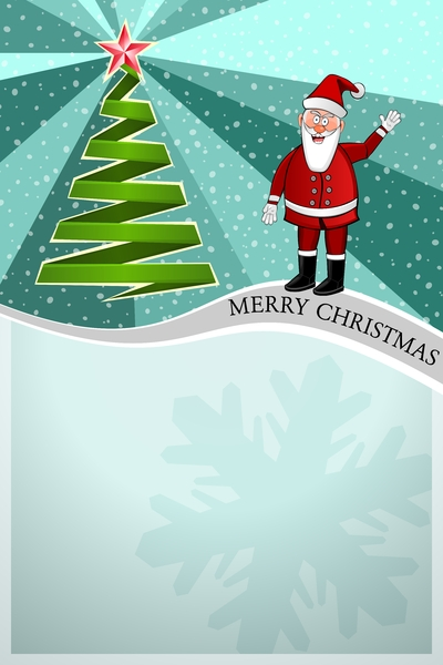 Christmas Poster 04: Christmas teal Poster with Santa Claus and christmas tree