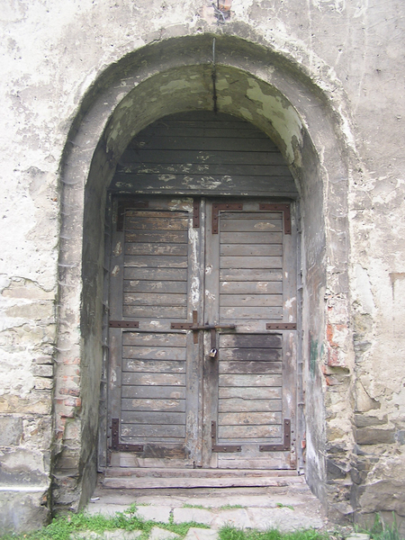 Old door: Wooden door. Sucha Beskidzka's castle area.