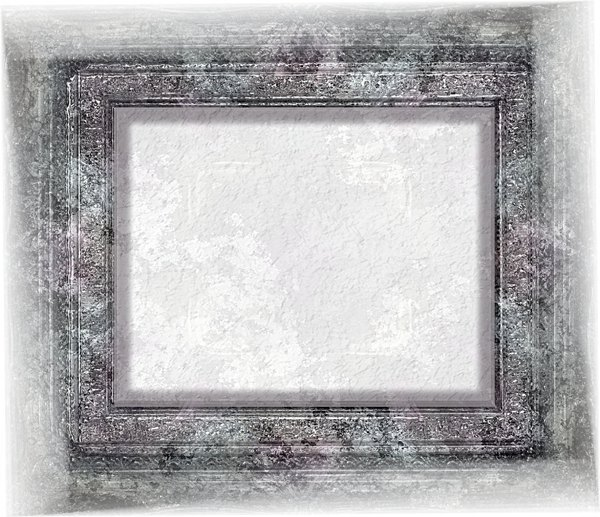 Reflective Grunge Frame 1: A grungy reflective 3d frame with a plaster effect in the centre.