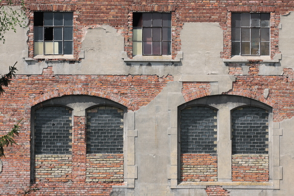 Old Factory 1: Wall and windows of an old factory