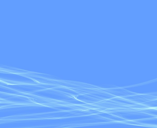 White Waves on Blue 3: White waves of smoke or gossamer against a plain blue background. flat rectangle shape.