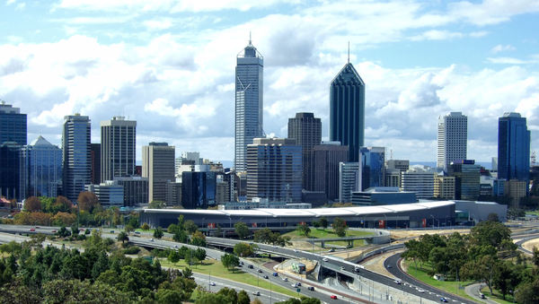 Perth cityscape3: city of Perth, Western Australia, on the edge of the Swan River viewed from King's Park