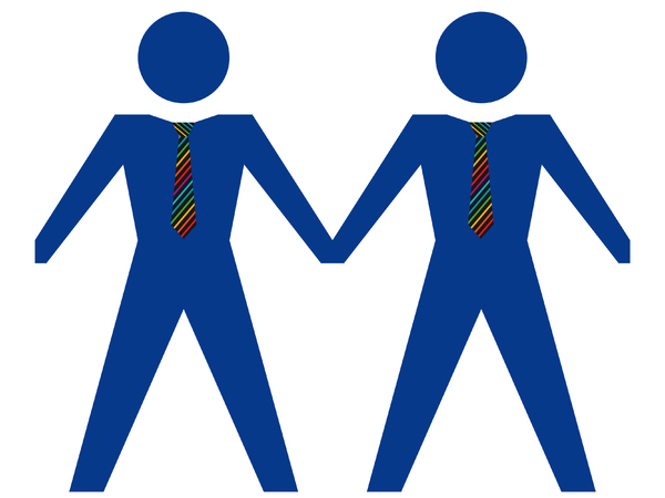 Same Sex Couple - Male 3: Gay male couple in blue with rainbow ties.