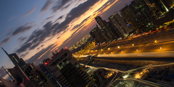 City Twilight: View south toward Jebal Ali on Sheikh Zayed Road at twilight