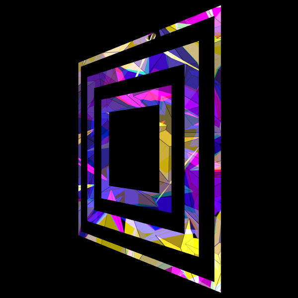 Abstract Perspective 2: Colourful abstract squares within squares with an angular perspective on a black background.