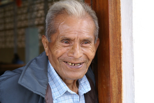 Old man: A smiling old man from the Qeqchi etnia in Guatemala.